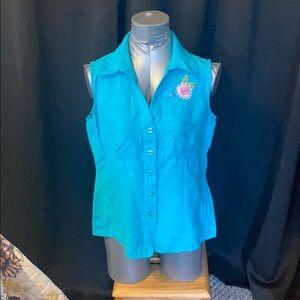 Dress barn embroidered detail , sleeveless shirt